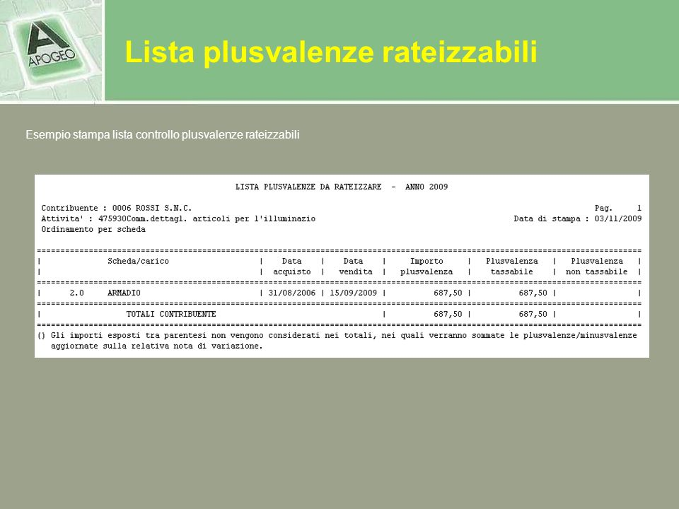 Lista plusvalenze rateizzabili Esempio stampa lista controllo plusvalenze rateizzabili