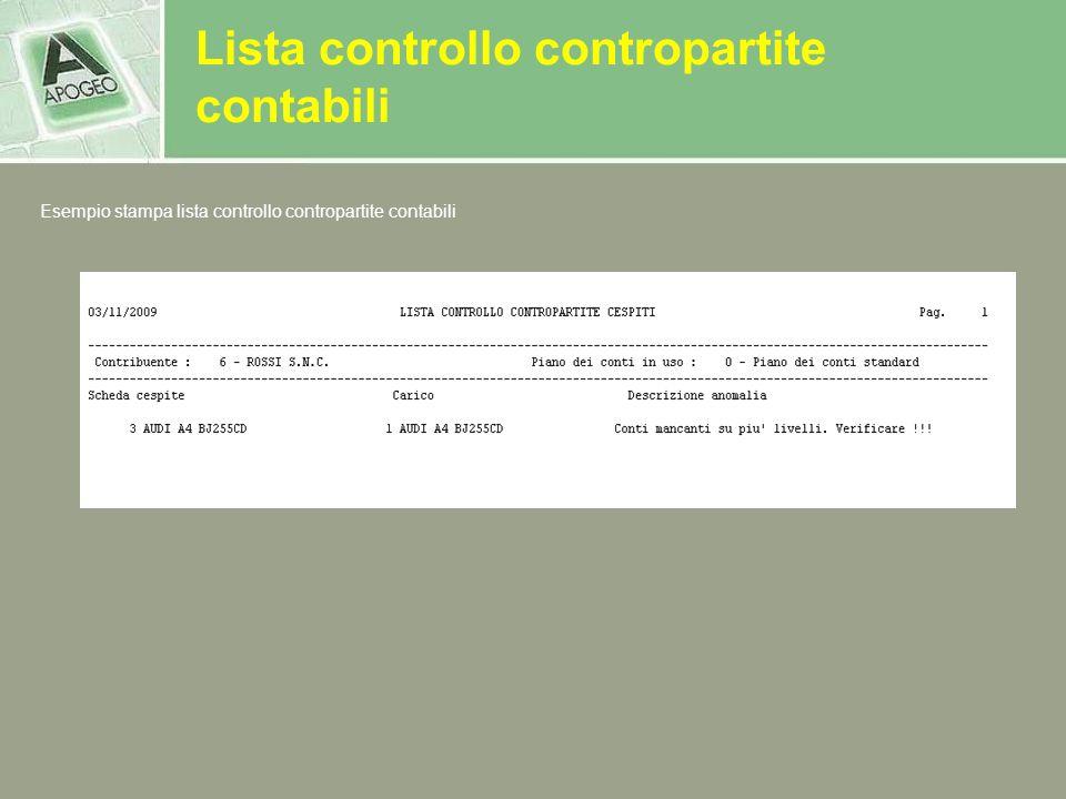 Lista controllo contropartite contabili Esempio stampa lista controllo contropartite contabili