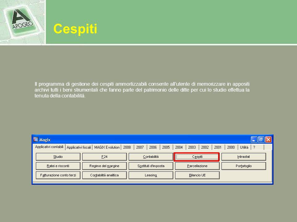 Il programma di gestione dei cespiti ammortizzabili consente allutente di memorizzare in appositi archivi tutti i beni strumentali che fanno parte del