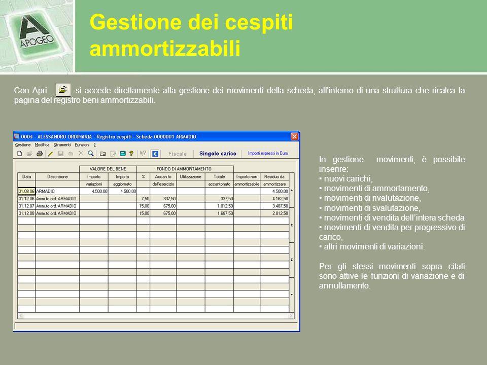 Con Apri si accede direttamente alla gestione dei movimenti della scheda, allinterno di una struttura che ricalca la pagina del registro beni ammortiz