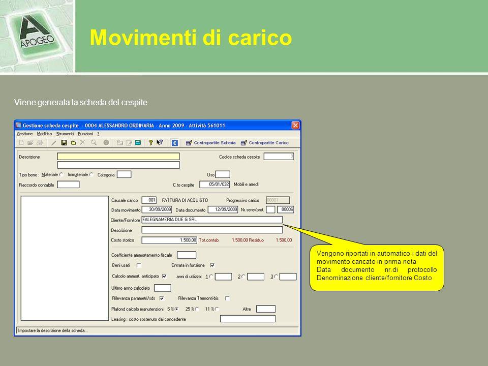 Vengono riportati in automatico i dati del movimento caricato in prima nota Data documento nr.di protocollo Denominazione cliente/fornitore Costo Vien