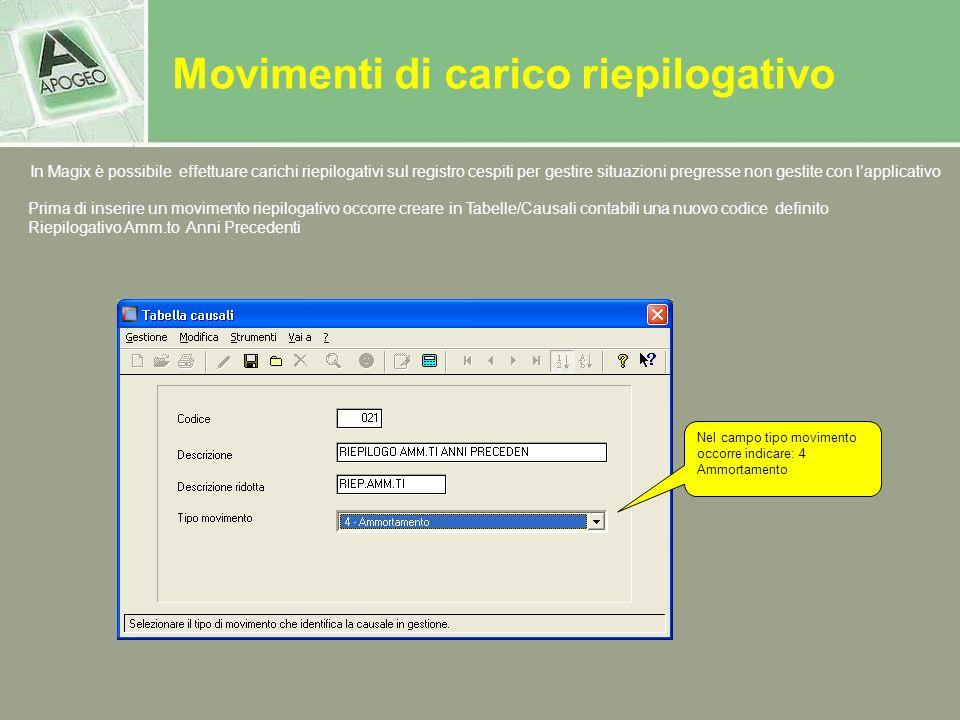 Movimenti di carico riepilogativo In Magix è possibile effettuare carichi riepilogativi sul registro cespiti per gestire situazioni pregresse non gest