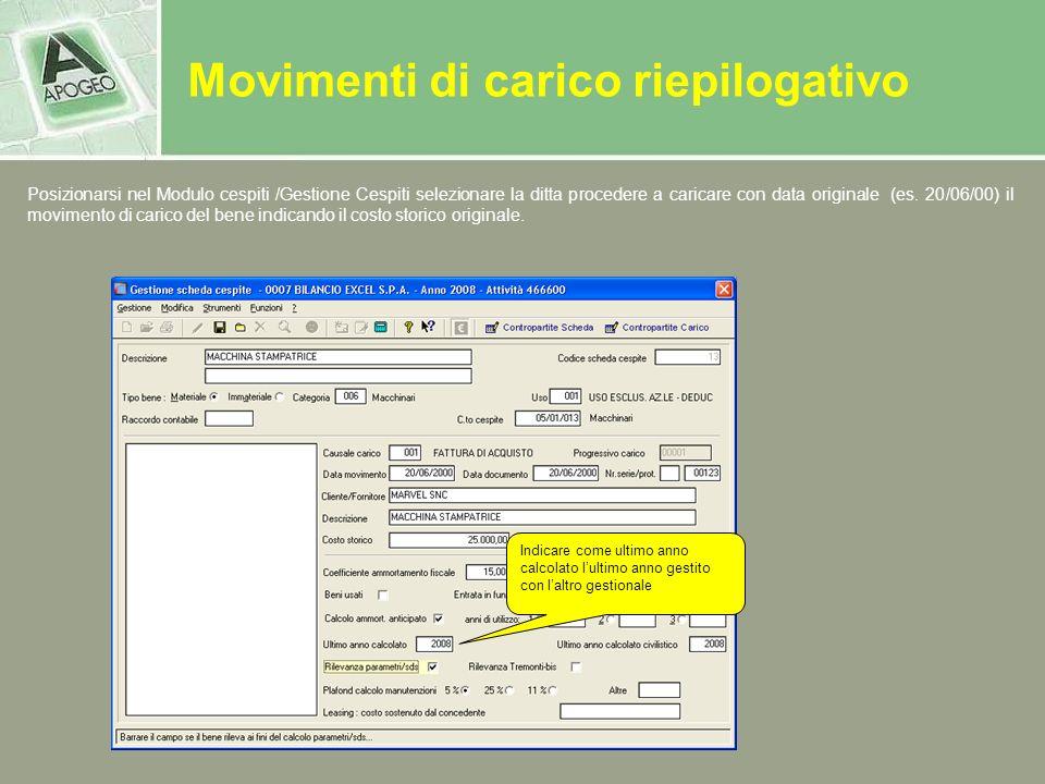 Posizionarsi nel Modulo cespiti /Gestione Cespiti selezionare la ditta procedere a caricare con data originale (es. 20/06/00) il movimento di carico d