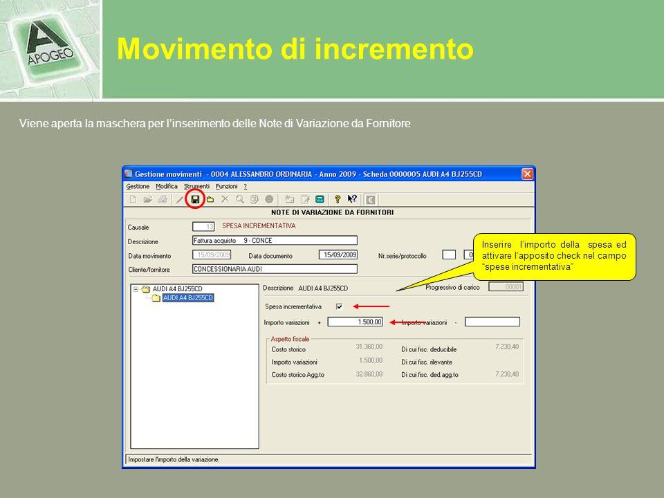 Movimento di incremento Viene aperta la maschera per linserimento delle Note di Variazione da Fornitore Inserire limporto della spesa ed attivare lapp