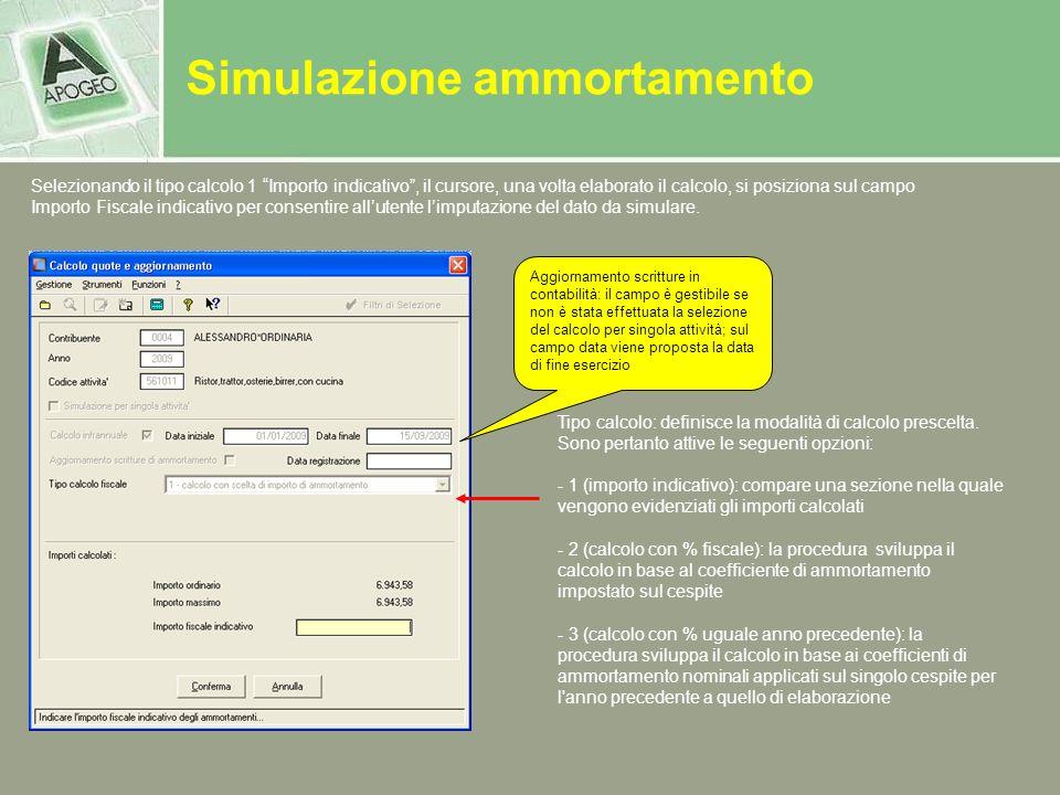 Simulazione ammortamento Aggiornamento scritture in contabilità: il campo è gestibile se non è stata effettuata la selezione del calcolo per singola a