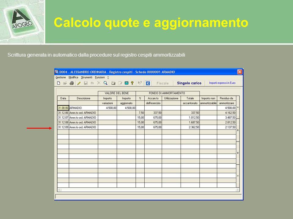 Calcolo quote e aggiornamento Scrittura generata in automatico dalla procedure sul registro cespiti ammortizzabili