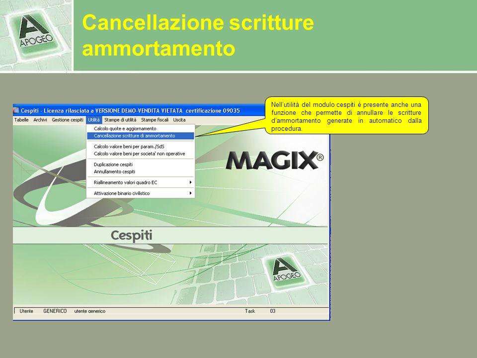 Nellutilità del modulo cespiti è presente anche una funzione che permette di annullare le scritture dammortamento generate in automatico dalla procedu