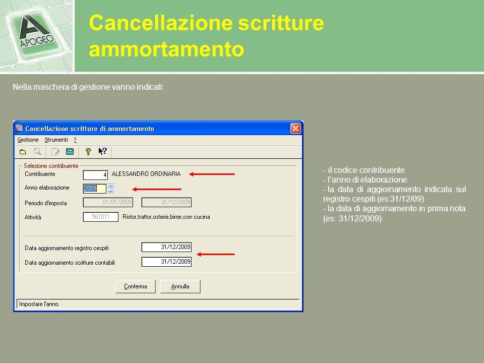 Nella maschera di gestione vanno indicati: - il codice contribuente - lanno di elaborazione - la data di aggiornamento indicata sul registro cespiti (