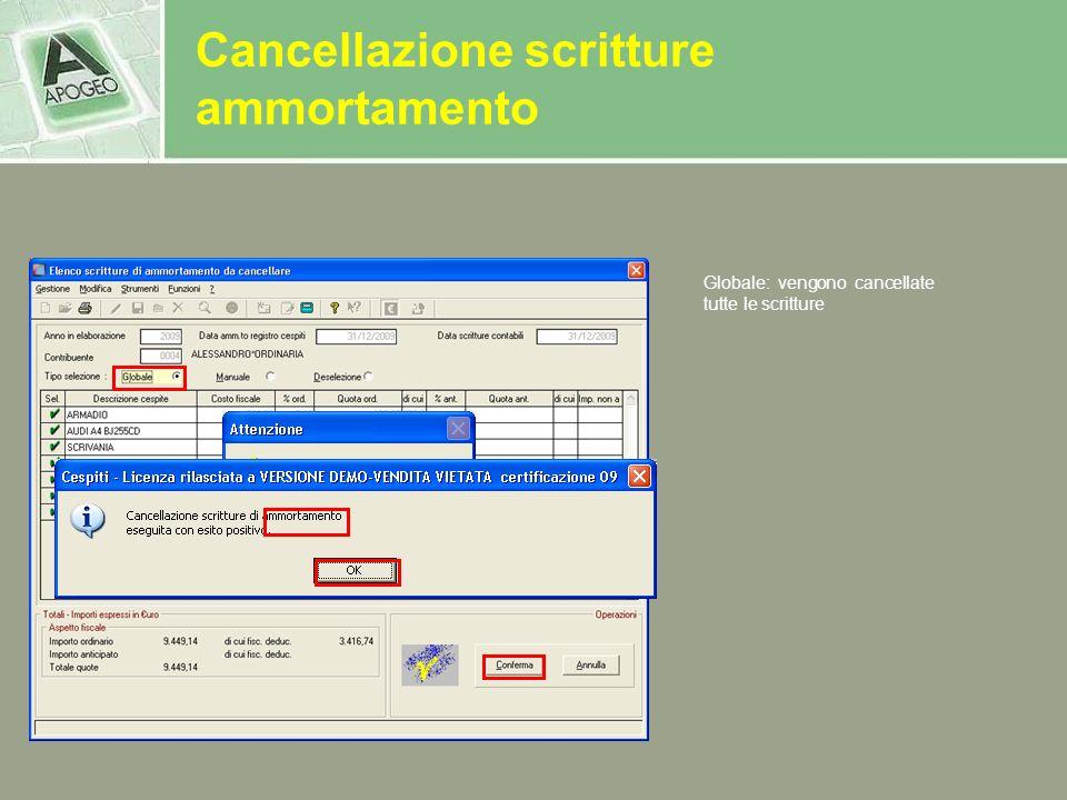 Cancellazione scritture ammortamento Globale: vengono cancellate tutte le scritture