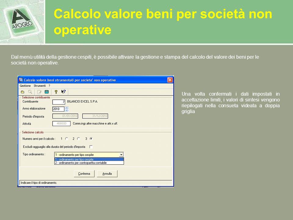 Calcolo valore beni per società non operative Una volta confermati i dati impostati in accettazione limiti, i valori di sintesi vengono riepilogati ne
