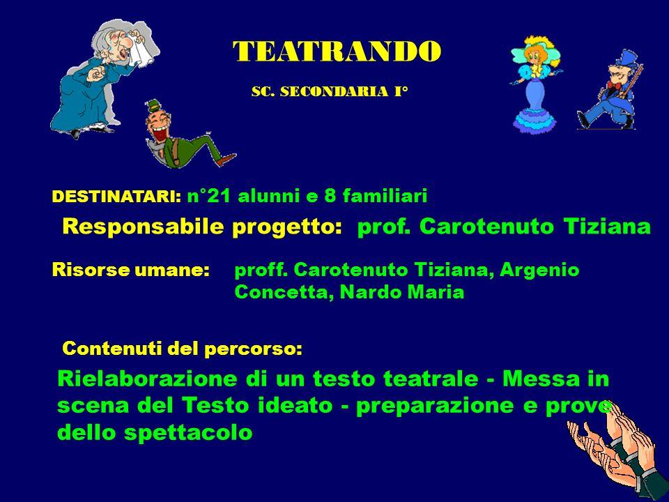 TEATRANDO SC. SECONDARIA I° DESTINATARI: n°21 alunni e 8 familiari Responsabile progetto:prof. Carotenuto Tiziana Risorse umane: proff. Carotenuto Tiz