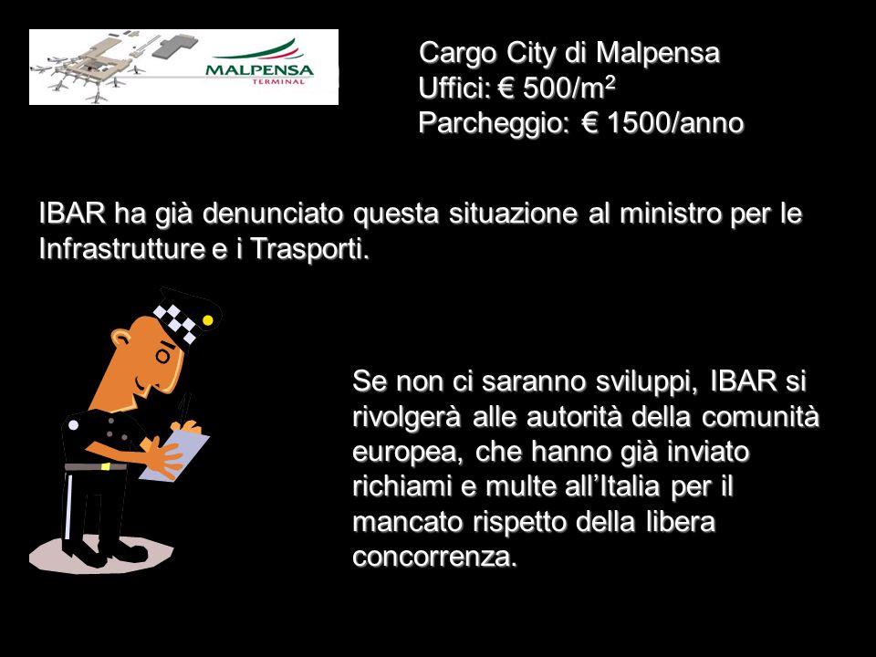 IBARItalian Air Cargo Market Conference Pisa, 5 - 6 Luglio 2002 Costi presso gli aeroporti Canoni di affitto per spazi e uffici negli aeroporti sono a