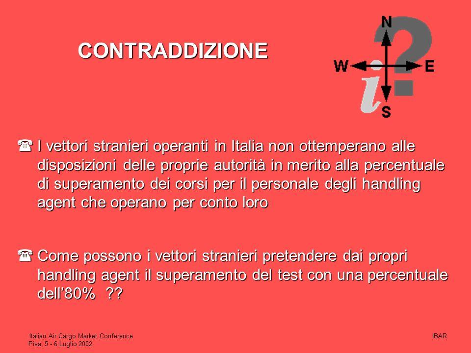 IBARItalian Air Cargo Market Conference Pisa, 5 - 6 Luglio 2002 8Dopo la circolare di ENAC, gestori aeroportuali e handling agent si sono attivati per