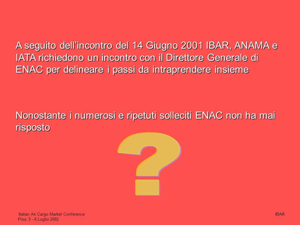 IBARItalian Air Cargo Market Conference Pisa, 5 - 6 Luglio 2002 (I vettori stranieri operanti in Italia non ottemperano alle disposizioni delle propri