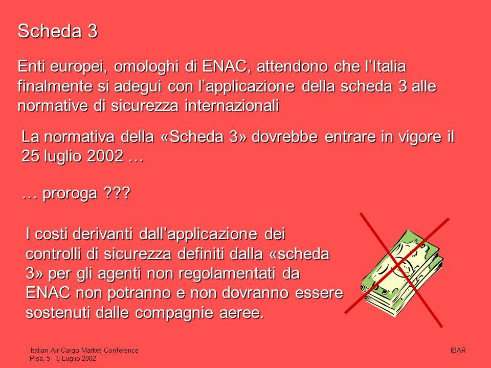 IBARItalian Air Cargo Market Conference Pisa, 5 - 6 Luglio 2002 A seguito dellincontro del 14 Giugno 2001 IBAR, ANAMA e IATA richiedono un incontro co