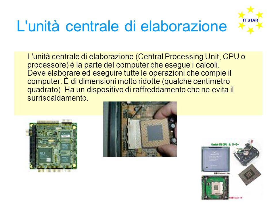 L'unità centrale di elaborazione L'unità centrale di elaborazione (Central Processing Unit, CPU o processore) è la parte del computer che esegue i cal