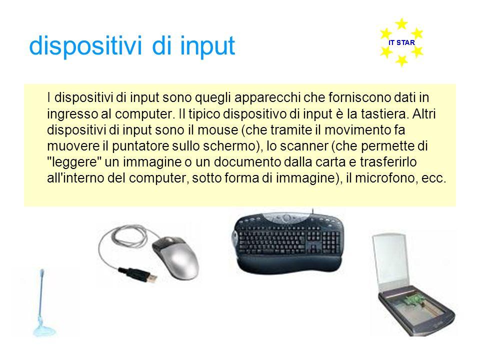 dispositivi di input I dispositivi di input sono quegli apparecchi che forniscono dati in ingresso al computer. Il tipico dispositivo di input è la ta