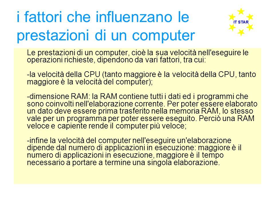 i fattori che influenzano le prestazioni di un computer Le prestazioni di un computer, cioè la sua velocità nell'eseguire le operazioni richieste, dip