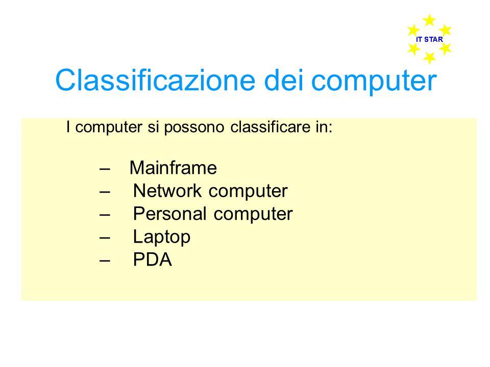 Classificazione dei computer I computer si possono classificare in: – Mainframe – Network computer – Personal computer – Laptop – PDA