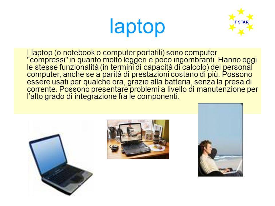 laptop I laptop (o notebook o computer portatili) sono computer compressi in quanto molto leggeri e poco ingombranti.