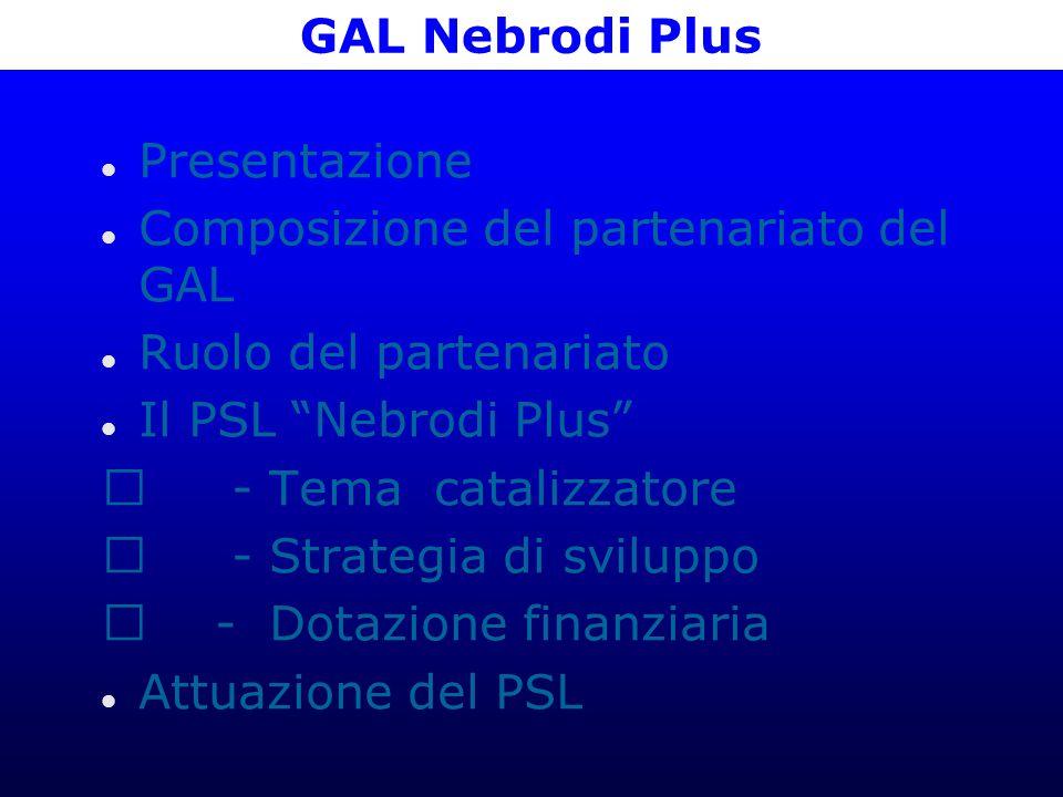 GAL Nebrodi Plus Presentazione Composizione del partenariato del GAL Ruolo del partenariato Il PSL Nebrodi Plus - Tema catalizzatore - Strategia di sviluppo - Dotazione finanziaria Attuazione del PSL