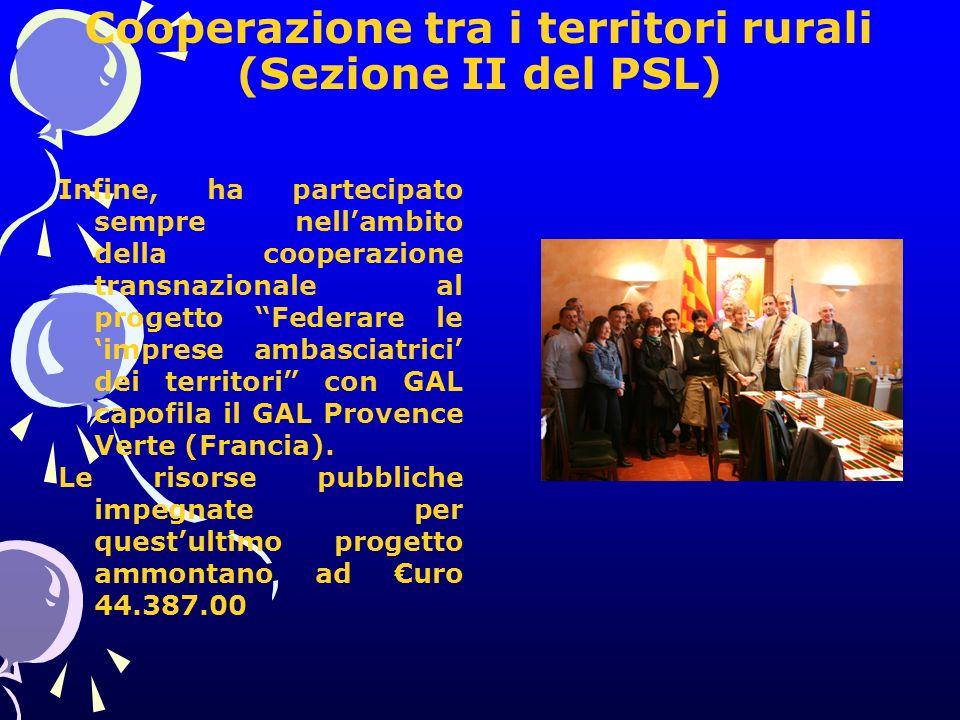 Cooperazione tra i territori rurali (Sezione II del PSL) Infine, ha partecipato sempre nellambito della cooperazione transnazionale al progetto Federare le imprese ambasciatrici dei territori con GAL capofila il GAL Provence Verte (Francia).