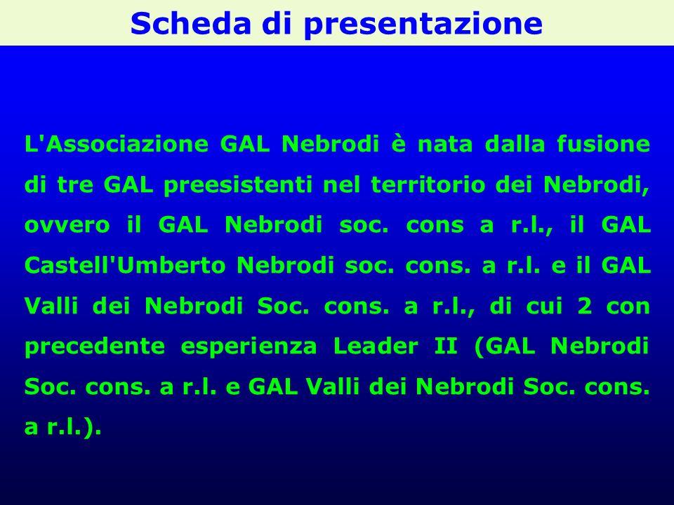 Scheda di presentazione L Associazione GAL Nebrodi è nata dalla fusione di tre GAL preesistenti nel territorio dei Nebrodi, ovvero il GAL Nebrodi soc.