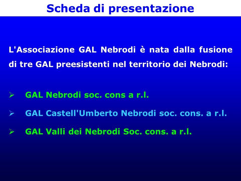 Scheda di presentazione L Associazione GAL Nebrodi è nata dalla fusione di tre GAL preesistenti nel territorio dei Nebrodi: GAL Nebrodi soc.