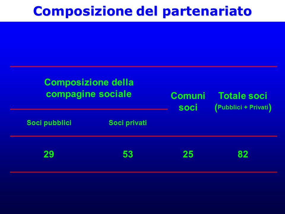 Composizione del partenariato Composizione della compagine sociale Comuni soci Totale soci ( Pubblici + Privati ) Soci pubbliciSoci privati 29532582