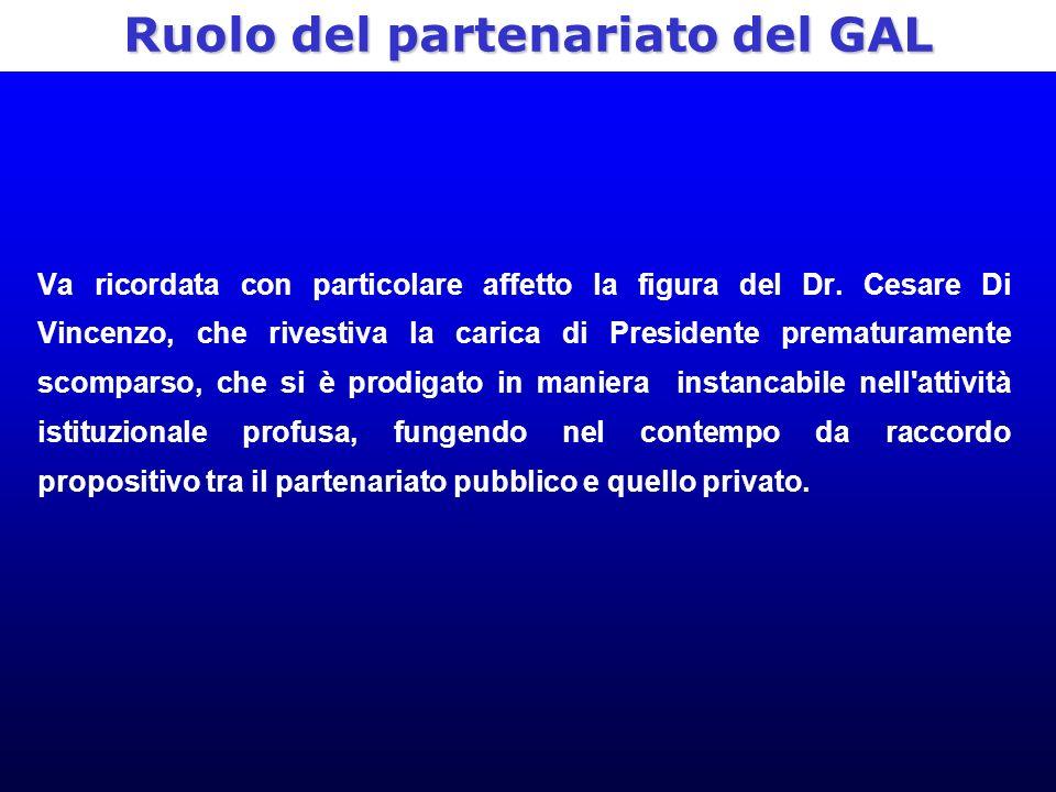 Ruolo del partenariato del GAL Va ricordata con particolare affetto la figura del Dr.