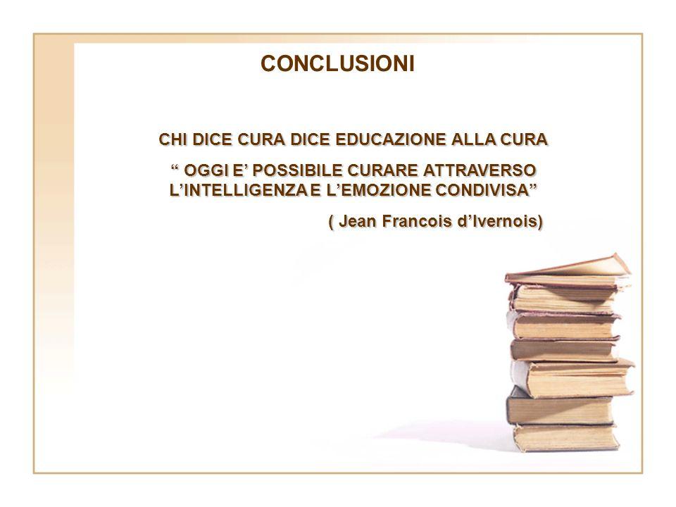CONCLUSIONI CHI DICE CURA DICE EDUCAZIONE ALLA CURA OGGI E POSSIBILE CURARE ATTRAVERSO LINTELLIGENZA E LEMOZIONE CONDIVISA OGGI E POSSIBILE CURARE ATT
