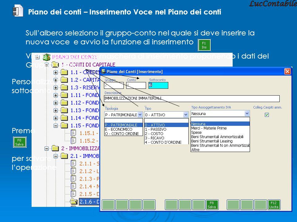 Piano dei conti – Inserimento Voce nel Piano dei conti Viene visualizzata la maschera di inserimento proponendo i dati del Gruppo Conto Personalizzo i