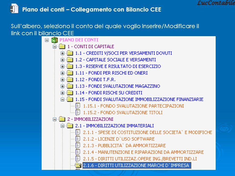 Piano dei conti – Collegamento con Bilancio CEE Sullalbero, seleziono il conto del quale voglio Inserire/Modificare il link con il bilancio CEE