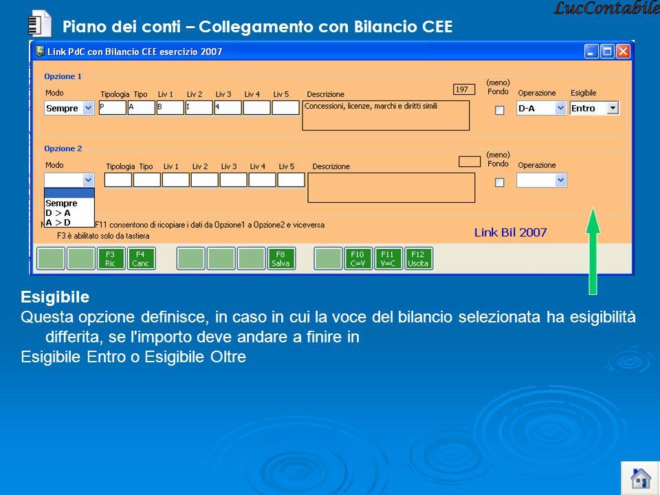 Piano dei conti – Collegamento con Bilancio CEE Esigibile Questa opzione definisce, in caso in cui la voce del bilancio selezionata ha esigibilità dif