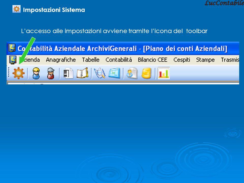 Laccesso alle impostazioni avviene tramite licona del toolbar