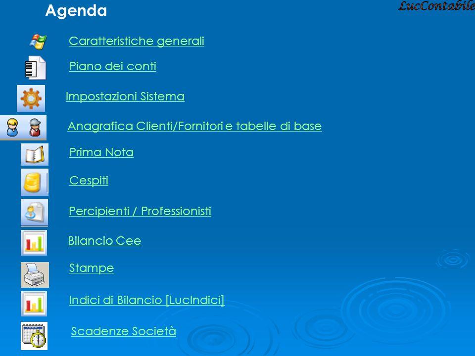 Agenda Caratteristiche generali Piano dei conti Impostazioni Sistema Anagrafica Clienti/Fornitori e tabelle di base Cespiti Prima Nota Percipienti / P