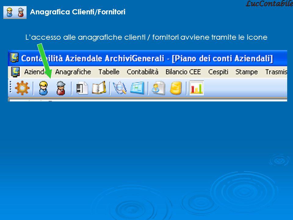 Laccesso alle anagrafiche clienti / fornitori avviene tramite le icone Anagrafica Clienti/Fornitori