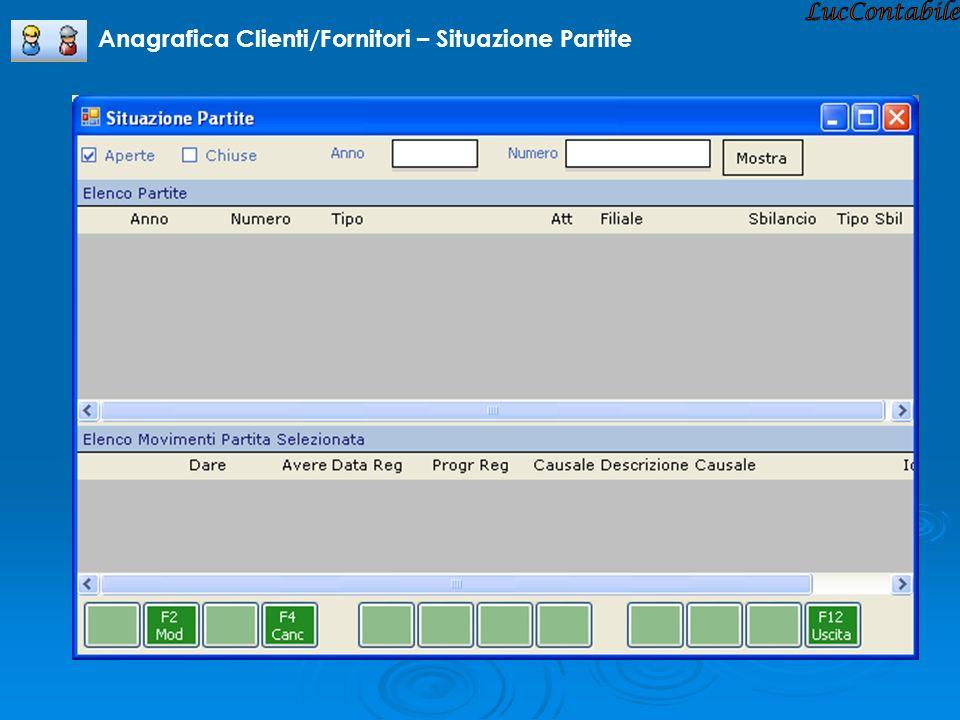 Anagrafica Clienti/Fornitori – Situazione Partite