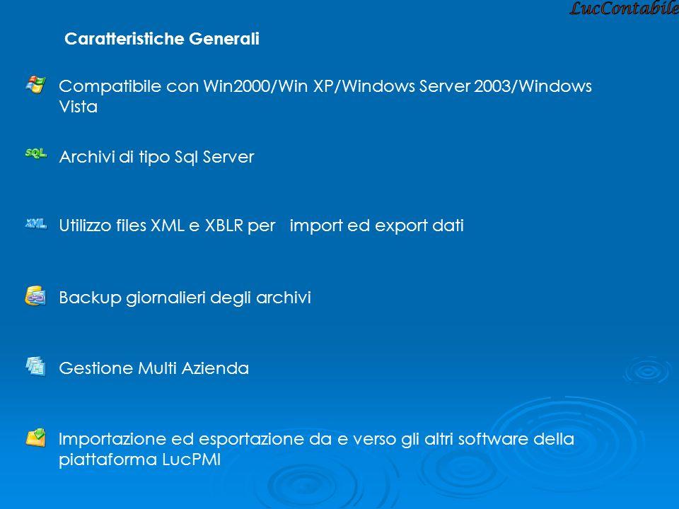 Caratteristiche Generali Utilizzo files XML e XBLR per import ed export dati Archivi di tipo Sql Server Compatibile con Win2000/Win XP/Windows Server