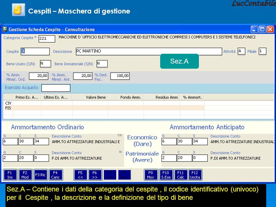 Cespiti – Maschera di gestione Sez.A Sez.A – Contiene i dati della categoria del cespite, il codice identificativo (univoco) per il Cespite, la descri