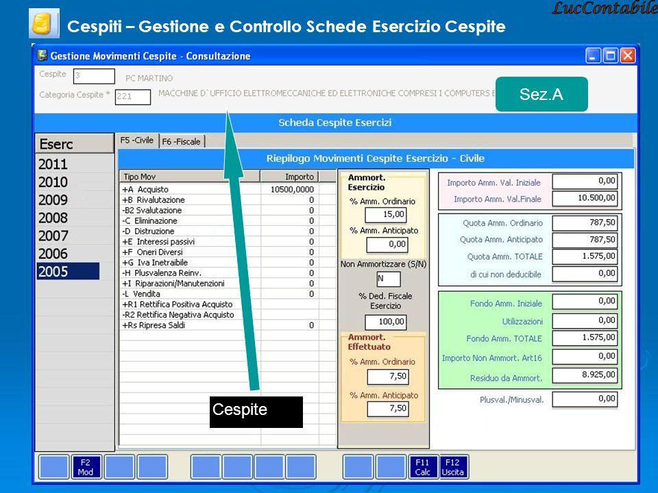 Cespiti – Gestione e Controllo Schede Esercizio Cespite Sez.A Cespite