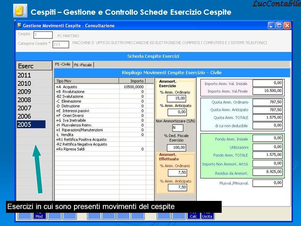 Cespiti – Gestione e Controllo Schede Esercizio Cespite Esercizi in cui sono presenti movimenti del cespite