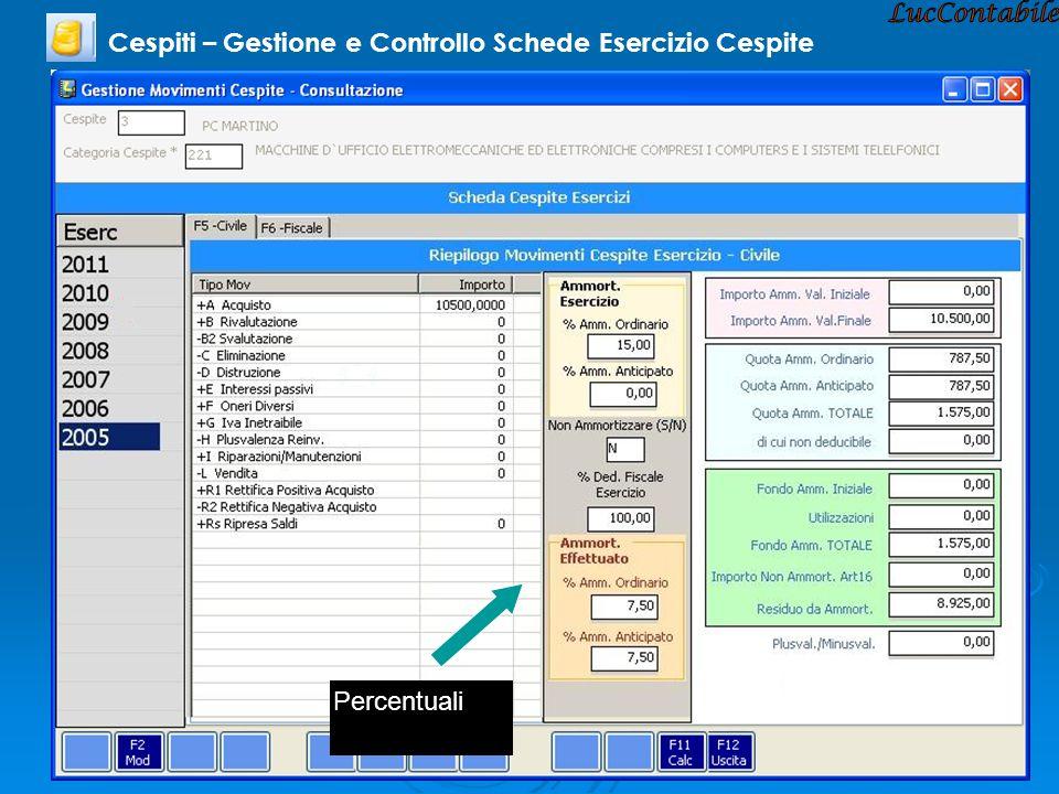 Cespiti – Gestione e Controllo Schede Esercizio Cespite Percentuali