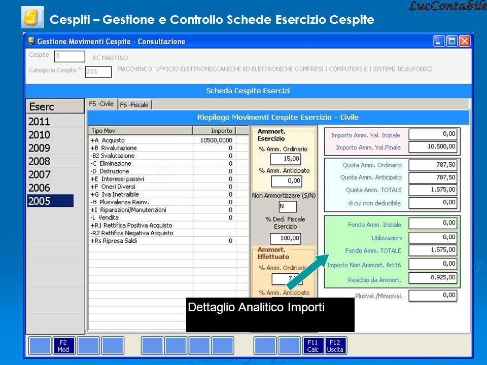 Cespiti – Gestione e Controllo Schede Esercizio Cespite Dettaglio Analitico Importi