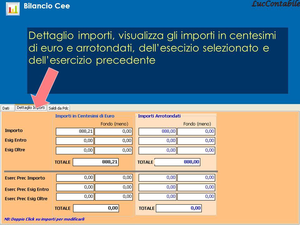 Dettaglio importi, visualizza gli importi in centesimi di euro e arrotondati, dellesecizio selezionato e dellesercizio precedente Bilancio Cee