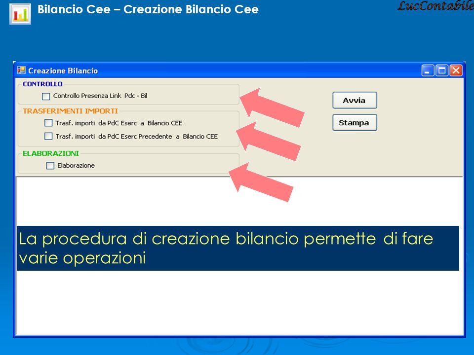 Bilancio Cee – Creazione Bilancio Cee La procedura di creazione bilancio permette di fare varie operazioni
