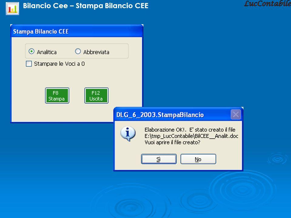 Bilancio Cee – Stampa Bilancio CEE