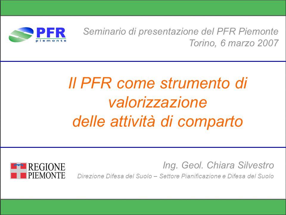 Il PFR come strumento di valorizzazione delle attività di comparto Seminario di presentazione del PFR Piemonte Torino, 6 marzo 2007 Ing.