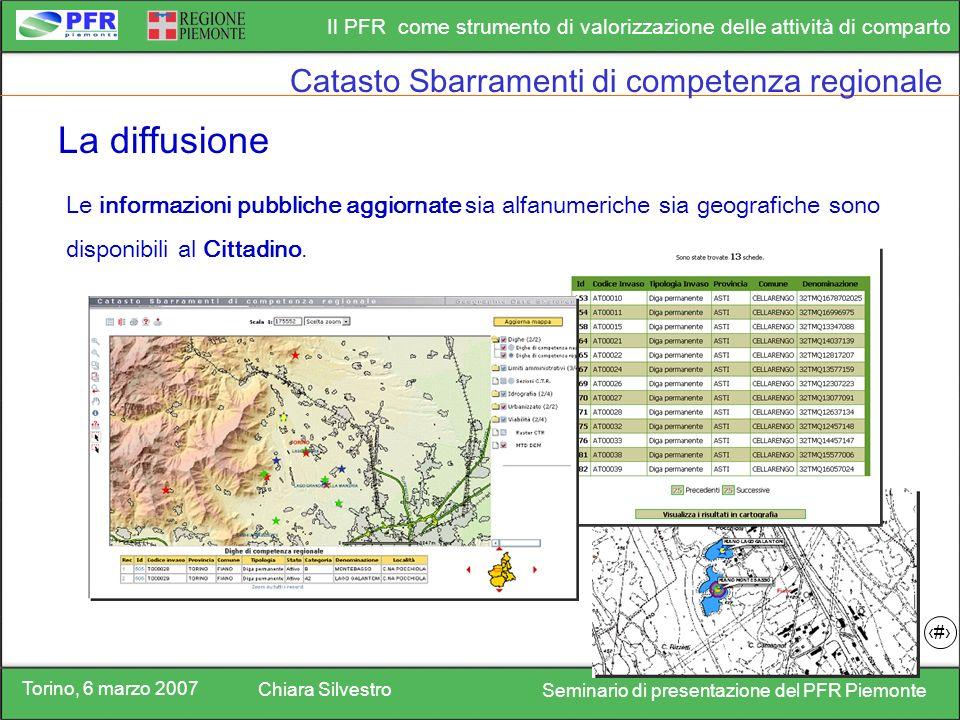 Torino, 6 marzo 2007 Chiara Silvestro Seminario di presentazione del PFR Piemonte Il PFR come strumento di valorizzazione delle attività di comparto 15 La diffusione Le informazioni pubbliche aggiornate sia alfanumeriche sia geografiche sono disponibili al Cittadino.
