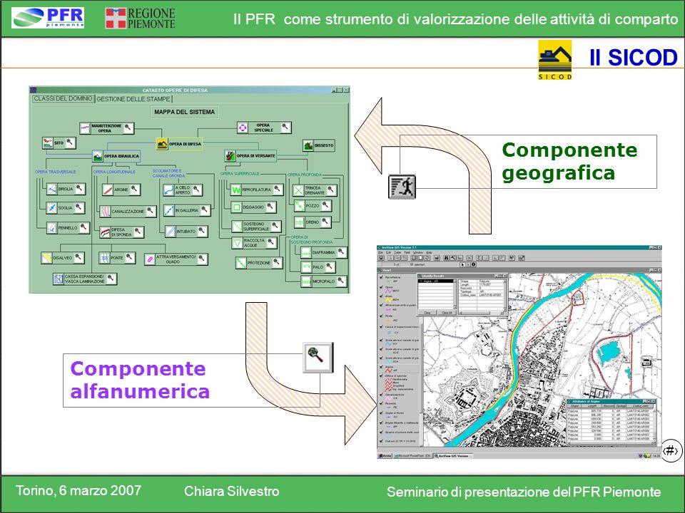 Torino, 6 marzo 2007 Chiara Silvestro Seminario di presentazione del PFR Piemonte Il PFR come strumento di valorizzazione delle attività di comparto 18 Il SICOD Componente alfanumerica Componente geografica
